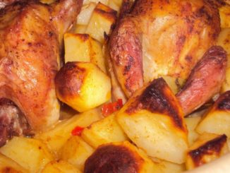 Codornizes assadas no forno com batatas